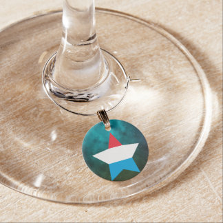 Luxembourg Star Design Flag Wine Charms