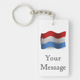 Luxembourg Waving Flag Double-Sided Rectangular Acrylic Keychain