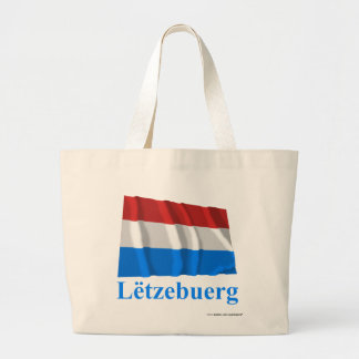Luxembourg Waving Flag with Name in Luxembourgian Large Tote Bag