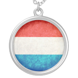Luxembourger Flag Silver Plated Necklace