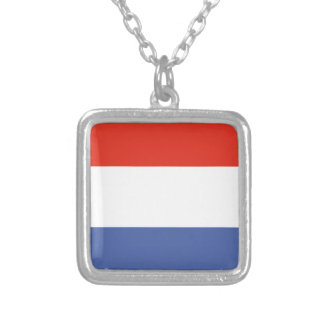 Luxemburg flag silver plated necklace