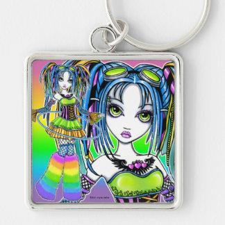 """""""Luxie"""" Rainbow Cyber Goth Hula Hoop Fae Keychain"""