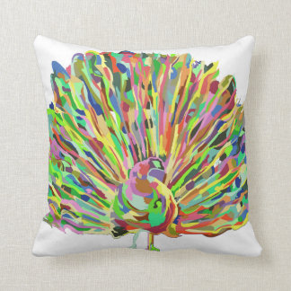 Luxurious Abstract Peacock Artistic Throw Pillow