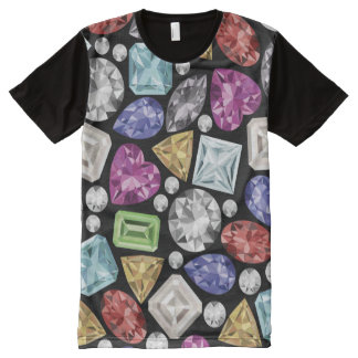 Luxurious colourful Diamond Pattern All-Over-Print T-Shirt