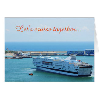 Luxurious cruise ship leaving Barcelona harbour Card