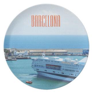 Luxurious cruise ship leaving Barcelona harbour Dinner Plates