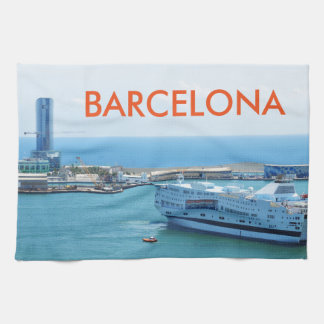 Luxurious cruise ship leaving Barcelona harbour Hand Towels