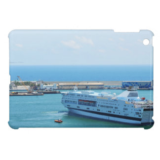 Luxurious cruise ship leaving Barcelona harbour iPad Mini Cases