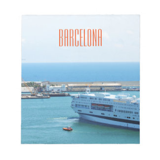 Luxurious cruise ship leaving Barcelona harbour Notepads
