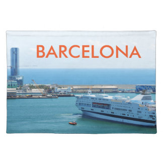 Luxurious cruise ship leaving Barcelona harbour Placemat