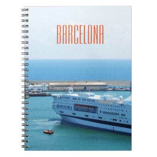 Luxurious cruise ship leaving Barcelona harbour Spiral Notebook