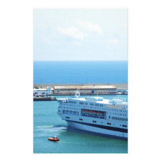 Luxurious cruise ship leaving Barcelona harbour Stationery