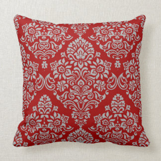 Luxurious Damask Pattern on Rich and Deep Red Throw Pillow