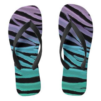 Luxurious Lavender Turquoise Teal Tiger Print Flip Flops