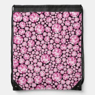 Luxurious pink Diamond Pattern Drawstring Backpacks