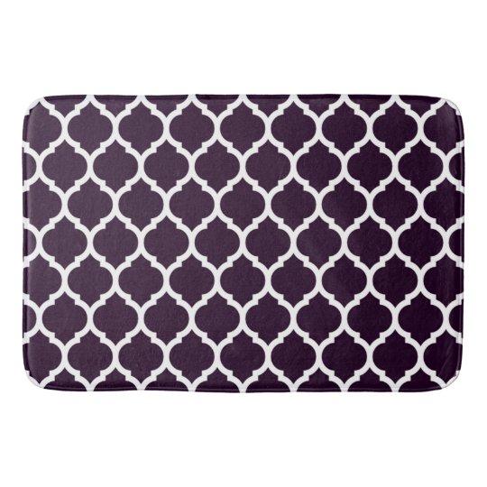 Luxurious Plum Purple Moroccan Quatrefoil Pattern Bath Mat