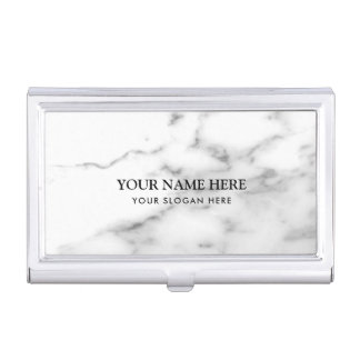 Luxurious white marble stone company name business card holder
