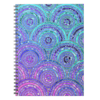Luxury Aqua and Purple Glitter Dots and Circles Notebook