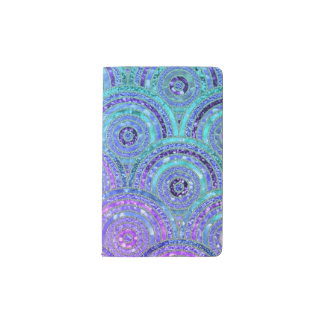 Luxury Aqua and Purple Glitter Dots and Circles Pocket Moleskine Notebook
