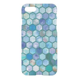 Luxury Aqua blue honeycomb pattern iPhone 7 Case