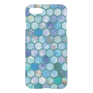 Luxury Aqua blue honeycomb pattern iPhone 8/7 Case