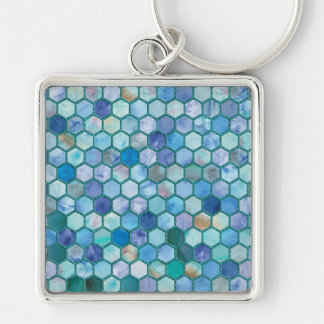 Luxury Aqua blue honeycomb pattern Keychain
