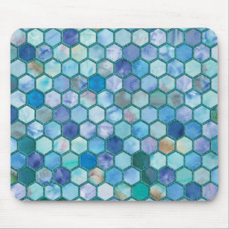 Luxury Aqua blue honeycomb pattern Mouse Pad