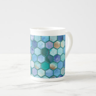 Luxury Aqua blue honeycomb pattern Tea Cup