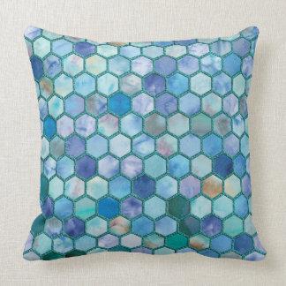 Luxury Aqua blue honeycomb pattern Throw Pillow
