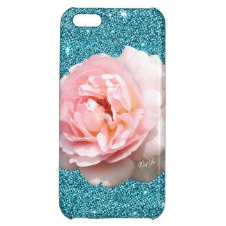 Luxury Aqua Glitter Floral iPhone 5C Slim Case