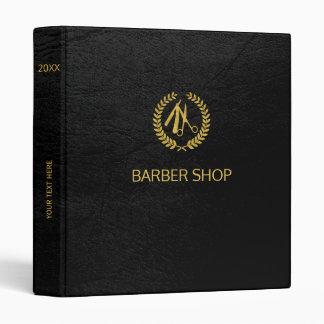 Luxury barber shop black leather look gold binder