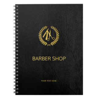 Luxury barber shop black leather look gold notebook
