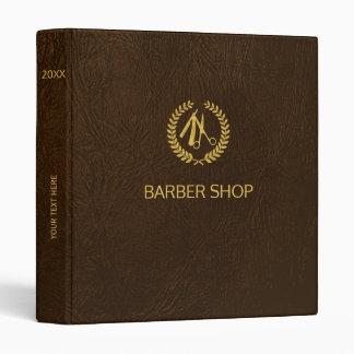Luxury barber shop dark brown leather look gold binders