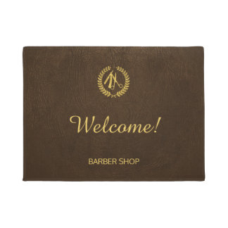 Luxury barber shop dark brown leather look gold doormat