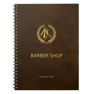 Luxury barber shop dark brown leather look gold notebook
