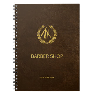 Luxury barber shop dark brown leather look gold spiral notebook