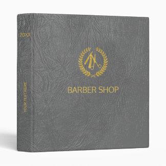 Luxury barber shop dark grey leather look gold binders