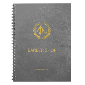 Luxury barber shop dark grey leather look gold notebook