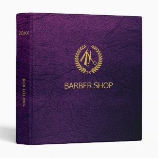 Luxury barber shop purple leather look gold binder