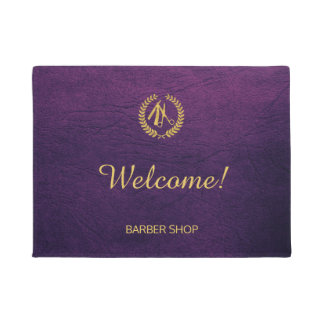 Luxury barber shop purple leather look gold doormat