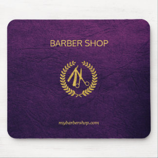 Luxury barber shop purple leather look gold mouse pad