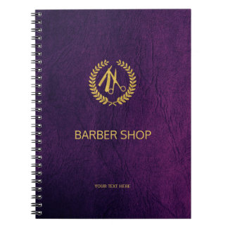 Luxury barber shop purple leather look gold spiral notebook