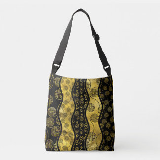 Luxury  Black and Gold African Pattern Crossbody Bag