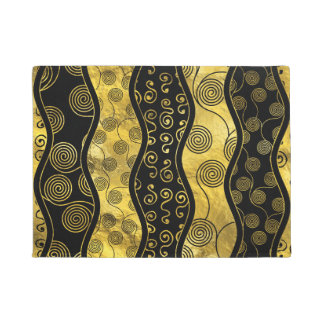 Luxury  Black and Gold African Pattern Doormat