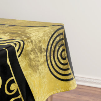 Luxury  Black and Gold African Pattern Tablecloth
