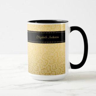 Luxury Black and Gold Jaguar Print With Name Mug