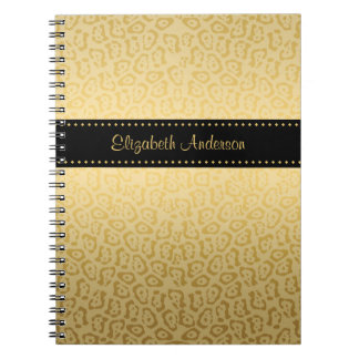 Luxury Black and Gold Jaguar Print With Name Spiral Note Book