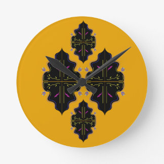 Luxury black and gold Ornaments Round Clock