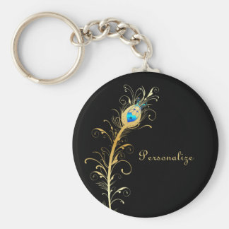 Luxury Black and Gold Peacock Feather Basic Round Button Keychain
