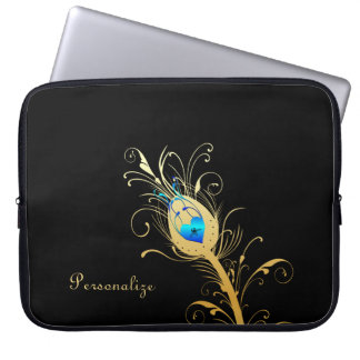 Luxury Black and Gold Peacock Feather Laptop Sleeve